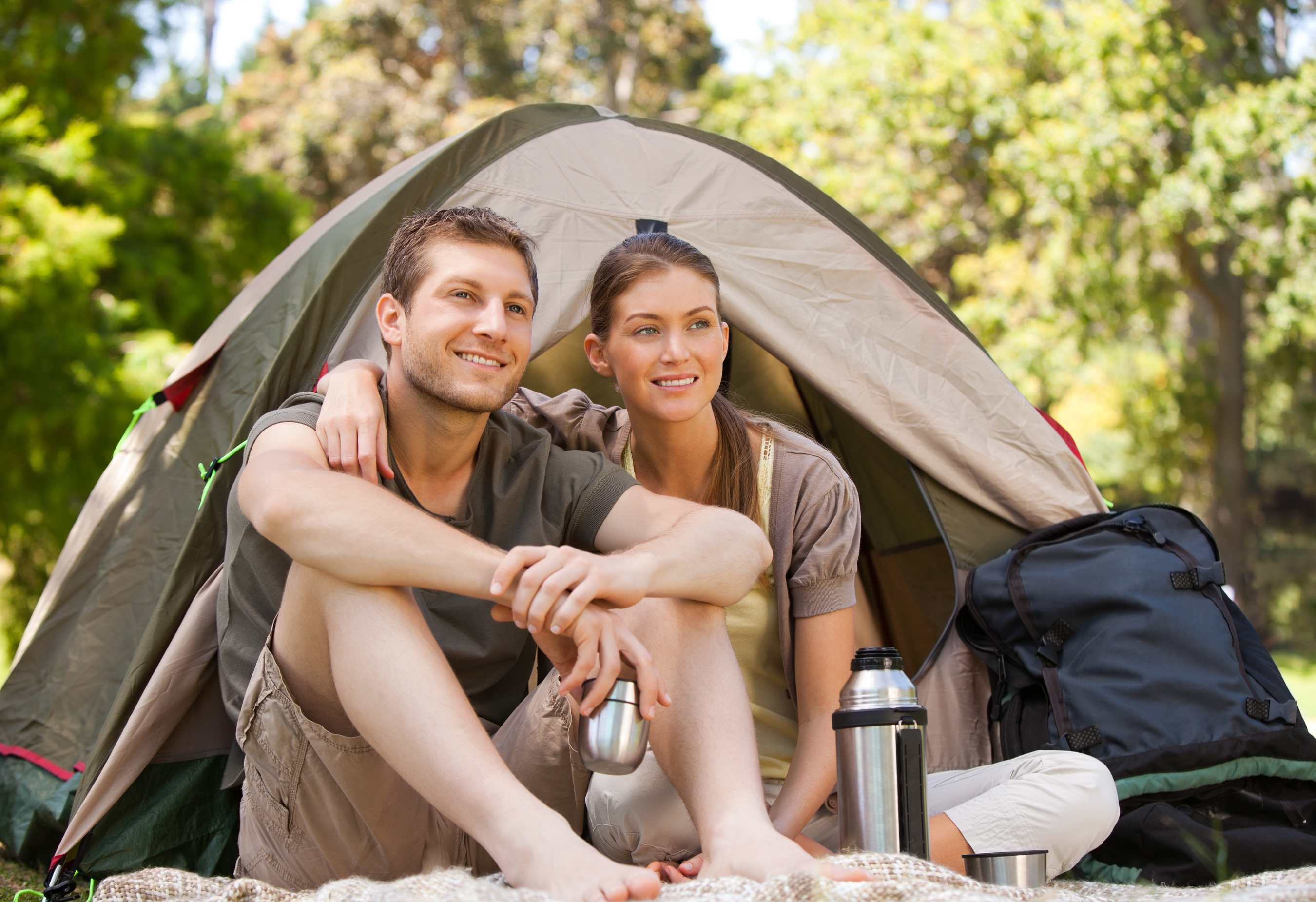 Couple camping.