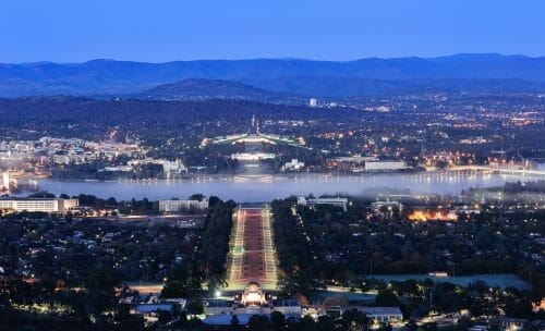 Canberra city at night.