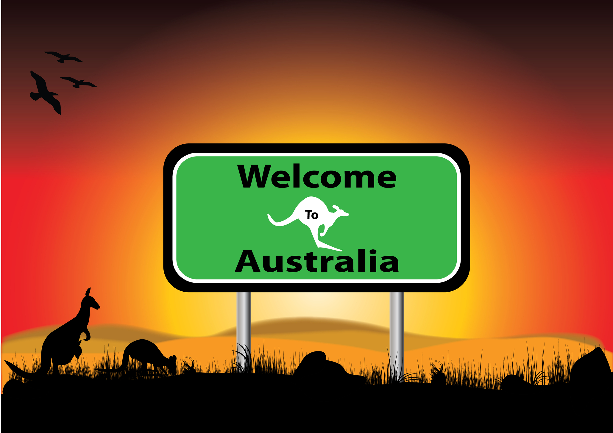 http://www.dreamstime.com/royalty-free-stock-photography-welcome-to-australia-sunset-image24831077