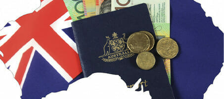 Australian money and passport illustration