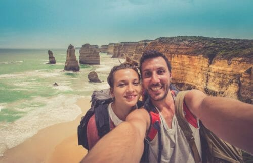 Backpackers Couple Travelling