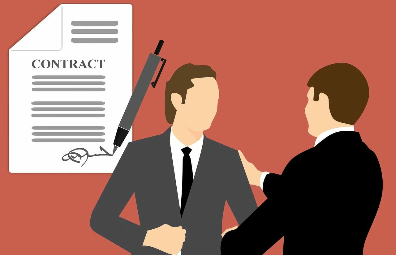 Graphic of businessmen and contract