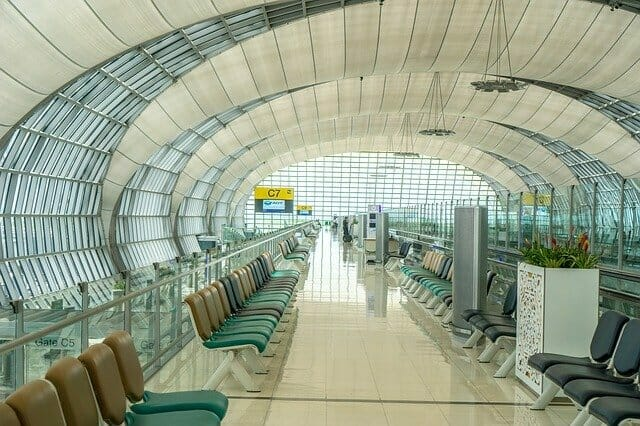 Empty airport departure lounge, Australian travel exemption
